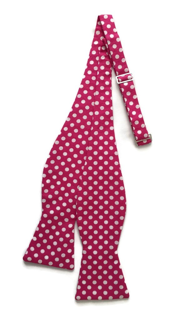 Men's Self-Tie Bow Tie in Hot Pink and White Polka Dots (Boys)