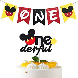 Mickey Mouse 1st Birthday Banner High Chair Banner,Mickey Onederful Birthday Cake Topper,Mickey 1st Birthday One Banner Party Decoration Supplies for Boys and Girls
