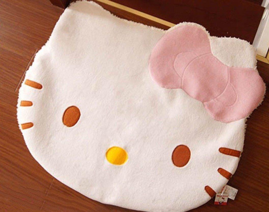 Amazon.com: Bestfashion Lovely Big Head Hello Kitty Fuzzy Floor Cushion Mat  Pad Bedroom Decoration Footcloth Rug 1 PC White OneSize, Multicolor:  Kitchen U0026 ...