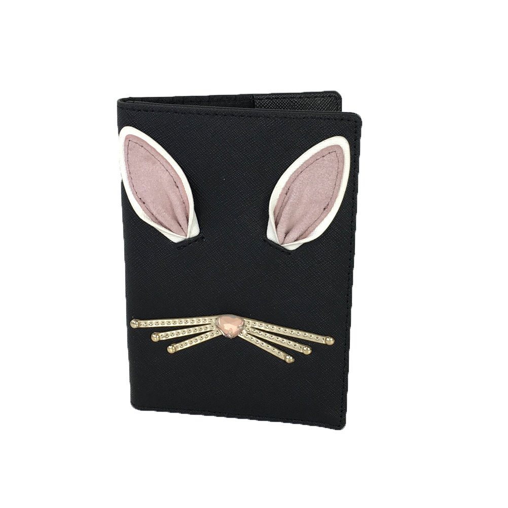 Kate Spade Hop To It Rabbit Leather Passport Holder, Black by Kate Spade New York