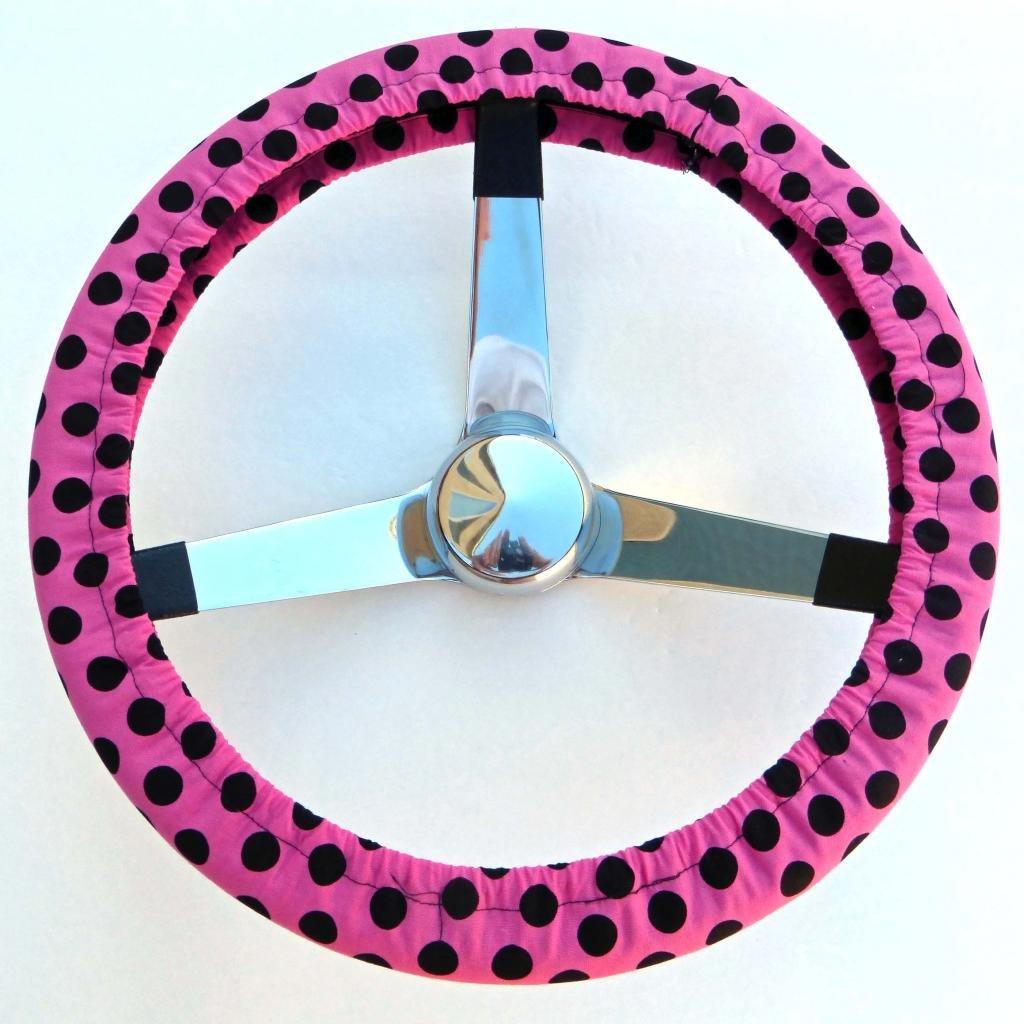 Mana Trading Handmade Steering Wheel Cover Pink and Black Polka Dots