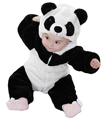 175faabba Amazon.com  Unisex-baby Infant Winter Flannel Romper Panda Outfits ...