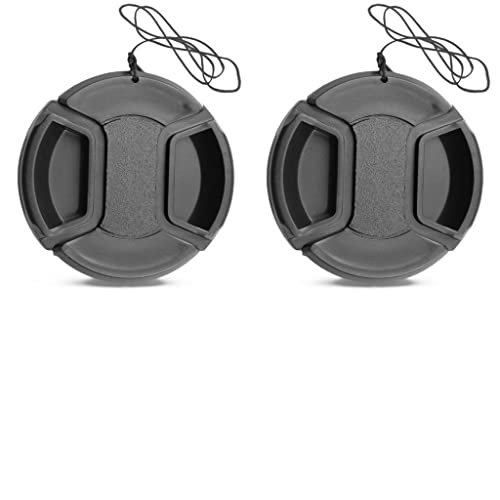 Eggsnow Lens Cap(2- Pack) 55mm Center Pinch Front Camera Lens Cap for Canon Nikon Sony Cameras