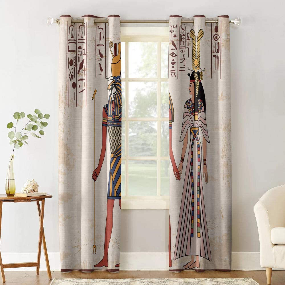 Curtain for Bedroom Living Room Nursery,75 h X166 w cm * 2panel Curtains Blackout for Bedroom Grey Egyptian Lover,Curtains Isolated Thermal Curtains Reduce Noise Modern Decorative Curtain