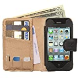 Manhattan Leather Wallet Case for iPhone 4 4S in Black and Tan