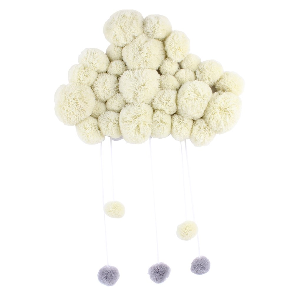 VORCOOL Nursery Ceiling Mobile Hanging Cloud Raindrops for Kids Room Baby Shower Wall Decorations (Beige)