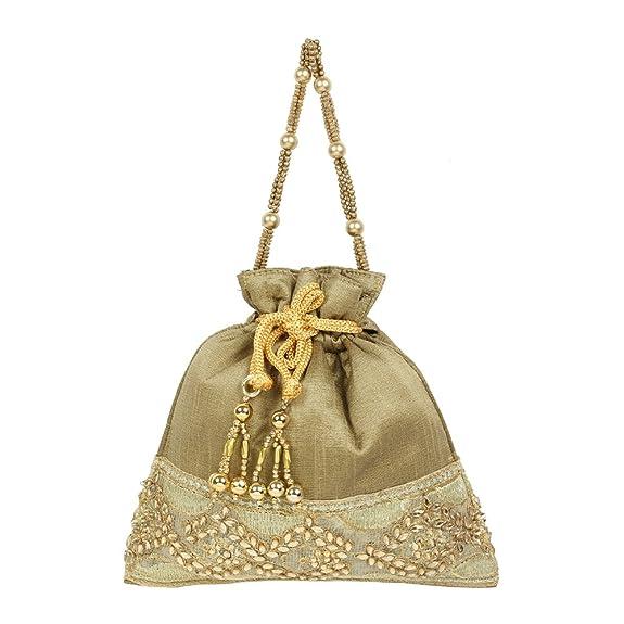 Vintage & Retro Handbags, Purses, Wallets, Bags Purse Collection Antique Colour Beautiful Drawstring Potli Purse For Womens $14.00 AT vintagedancer.com