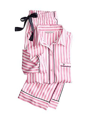 4865115456 Victoria s Secret The Afterhours Satin Pajama 2 piece set Large -Short Pink  Stripe at Amazon Women s Clothing store