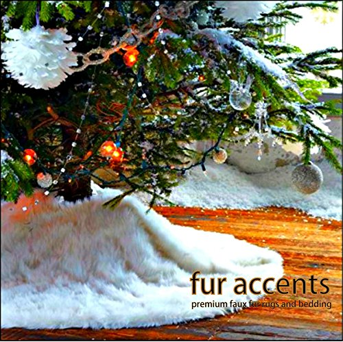 Fur Accents Christmas Holiday Tree Skirt, Plush Shaggy Faux Fur (Snow White, 60