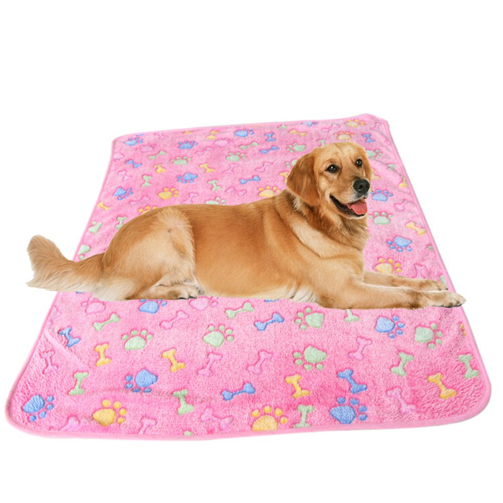 Da.Wa Pet Soft and Fluffy Dog Cat Puppy Paw Print Blanket Cushion Sleep Mat Warm Blanket Beds Washiable