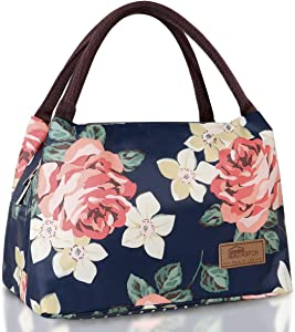 Homespon Lunch Bag Insulated Lunch Box Reusable Food Tote Large Handbag Leakproof Waterproof Keep Warm/Cool/Fresh for Adults,Children to Office,School,Picnic(peony print)