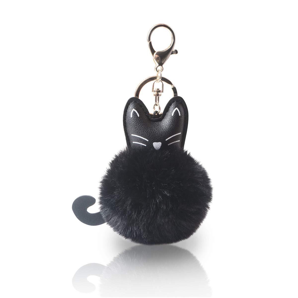 c01fd8c171f Amazon.com  Faux Fur Ball Pom Pom Keychain with A Fashion PU Cat Head for  Womens Bag Cellphone Car Charm Pendant Decoration (Black)  Clothing