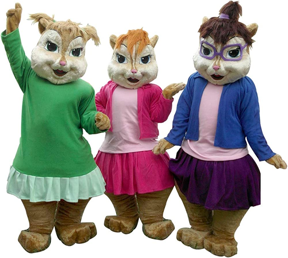 Amazon Com Eleanor Female Chipmunks Chipettes Mascot Costume Character Cosplay Party Birthday Halloween Brown Clothing