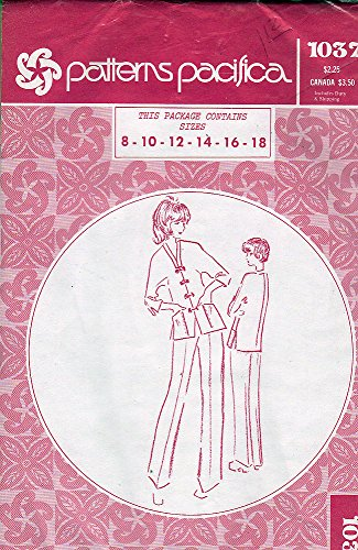 (Vintage Hawaiian Patterns Pacifica 1037 Sewing Pattern for Banded Neckline Frog Closure Kimono Sleeve Jacket and Pants with Zip &)