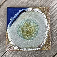 Geode Crackle Coaster in BLUE AND COPPER: Individual Coaster, Geode Coaster, Agate Coaster, Fused Glass Coaster, Crackle Glass Coaster, Dock 6 Pottery Coaster, Dock 6 Pottery, Kerry Brooks Pottery