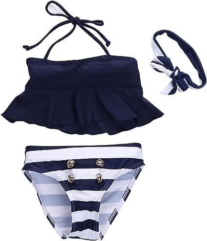 Glosun 3Pcs Toddler Baby Girls Swimsuit Striped Swimwear Bikini Set with Headbands