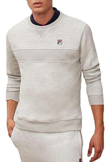 5c9ee015e4bd Fila Vintage Men s Carlo Rib Panel Sweatshirt Light Grey Marl (Medium)