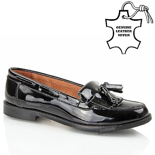 SIMMI Mocasines para mujer Negro Black Patent Leather: Amazon.es: Zapatos y complementos