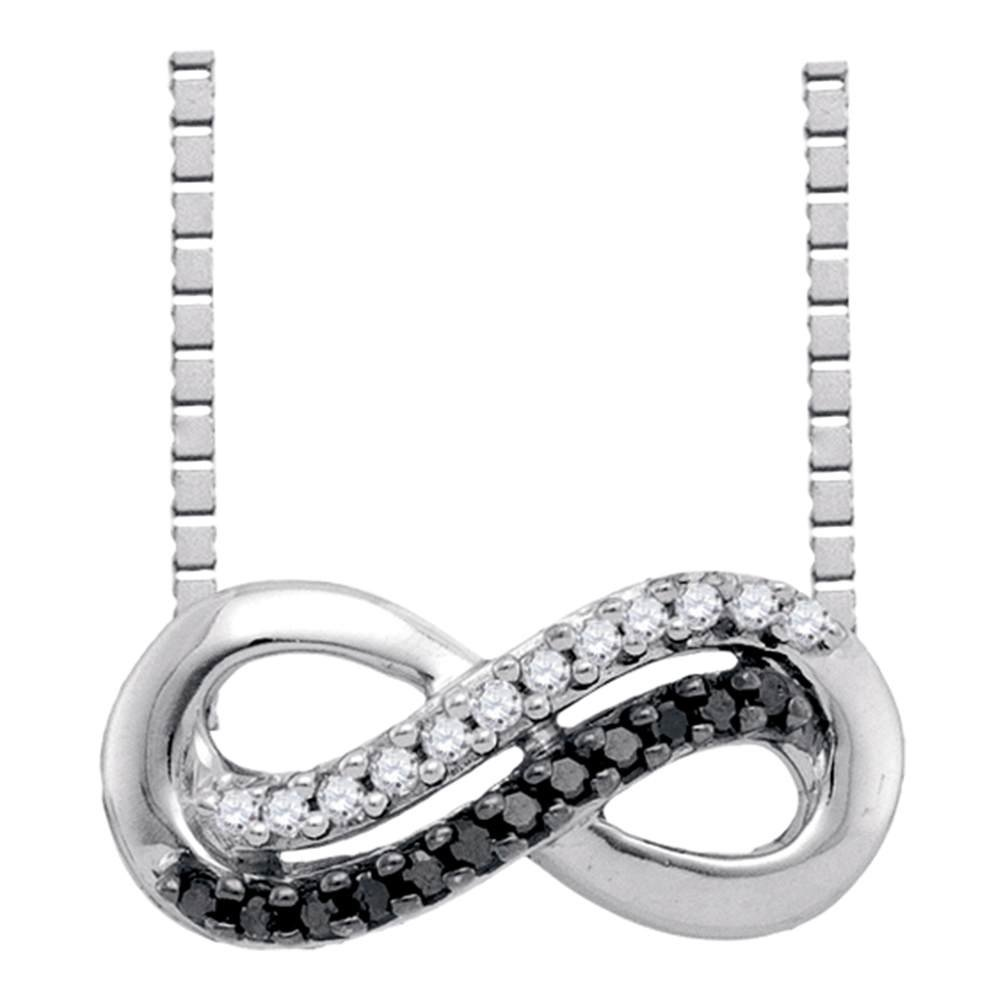 10kt White gold Womens Round Black color Enhanced Diamond Infinity Pendant Necklace 1 10 Cttw