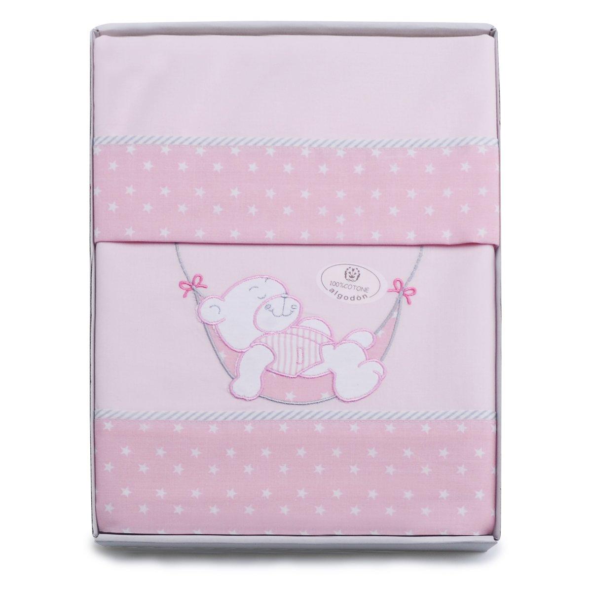 PEKITAS 3-teiliges Bettwäsche-Set für Kinderwagen/Kinderwagen, 40 x 80 cm, 100% Baumwolle, in Geschenkverpackung (Kissenbezug + Bettlaken + Spannbettlaken mit Gummiband) Teddy Blau 18cpmod1-AZ