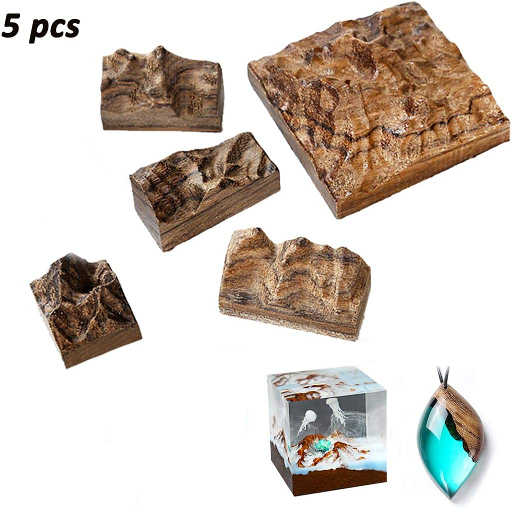 iSuperb 5 Pieces Resin Epoxy Craft Wood Natural Sandalwood Snow Mountain Dried Flower Resin Decorative Craft DIY Ring Pendant Micro Landscape Making for Jewelry 5 pcs Sandalwood