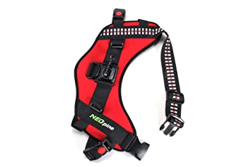 NEOpine Neoprene Dog Fetch Harness Adjustable Chest Strap Belt Mount for Camera Gopro Hero 7 6 5 4 3+ 3 2 SJ4000 SJ5000 SJ6000 SJ7000 Sports Camera Ac