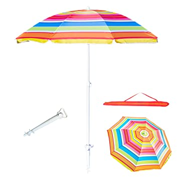 8787a7f096 6 Feet Beach Umbrella UV Protection with Telescoping Pole Adjustable Sand  Umbrella, Weather Shelter Bonus Carry Bag and Sand Anchor (Red)