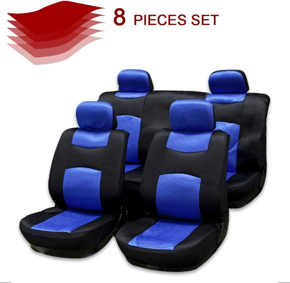 cciyu Seat Cover Universal Car Seat Cushion w/Headrest - 100% Breathable Car Seat Cover Washable Auto Covers Replacement fit for Most Cars(Black/Blue)