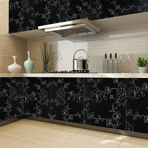 KINLO PVC 0.61 x 5M Carta Adesiva per Mobili/Cucina PVC Wallpaper Sticker  Etichette Autoadesive Cabinet Rimovibile Parete Della Cucina Decorare (Nero)