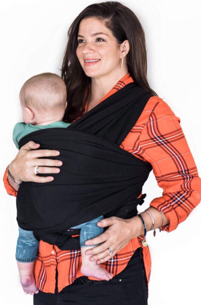 Made Happy Baby Wrap Carriers- Hands Free Swaddle- Newborn to 35 lbs- Comfy Cotton Spandex Mix- One Adjustable Size- Ergo Sling Support – for Baby Wearing Moms- Black