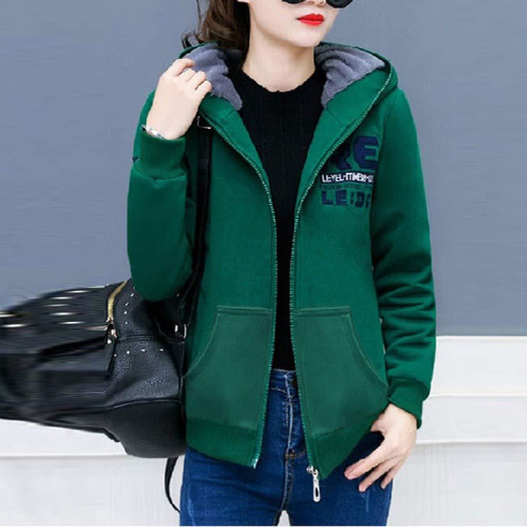 Autumn Winter Fashion Sweatshirt,Women Zipper Long Sleeve Patchwork Hooded Pockets Elegant Tops Jacket Outwear Coat