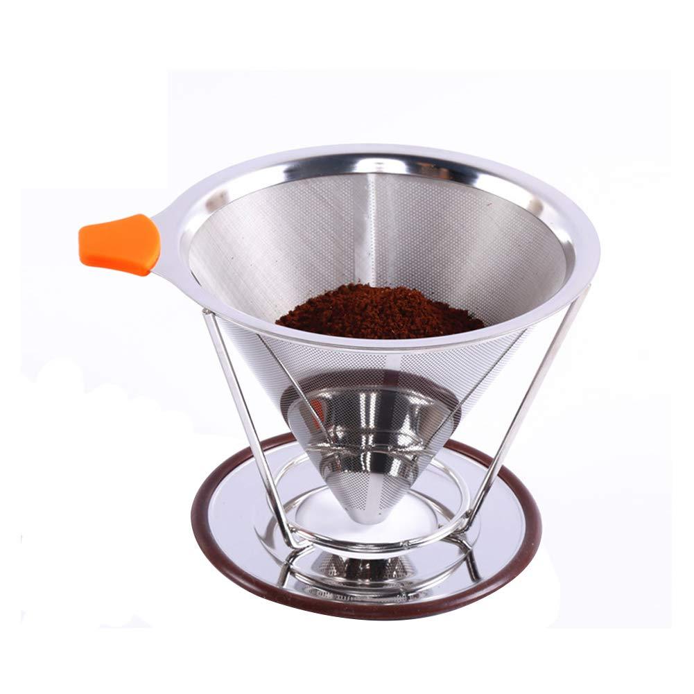 FEOOWV 304 ステンレス鋼 再利用可能 ドリップコーヒーフィルター ペーパーレス ポアオーバーコーヒーメーカー 5348  125mm+Handle B07PJTRJ3Q