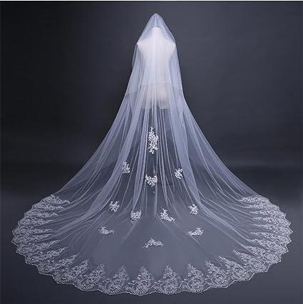 6e272f480202 Ei iLI 4 metri di lunghezza da sposa velo di pizzo velo da sposa a mano  composizioni