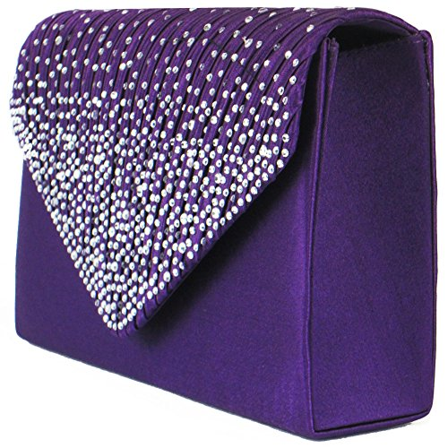 Ladies Satin Bridal Women Large Clutch Evening Diamante Party Bag Zarla Envelope Prom Purple ZxFYRqnq