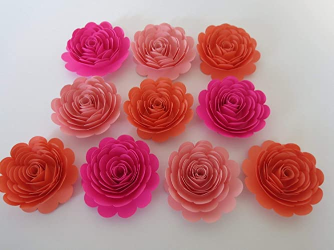 Amazon Shades Of Pink Roses Set 10 Big 3 Paper Flowers
