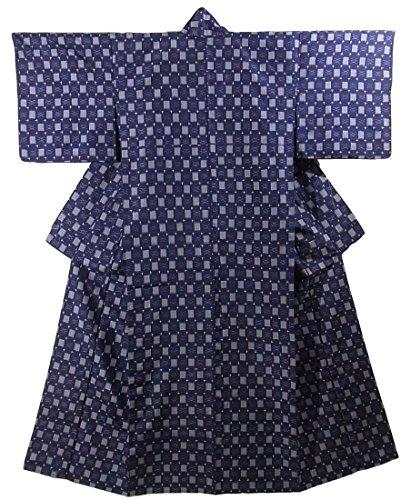 リサイクル 着物 紬 ひとえ 正絹 経緯絣 格子や十字文様 裄64.5cm 身丈161cm