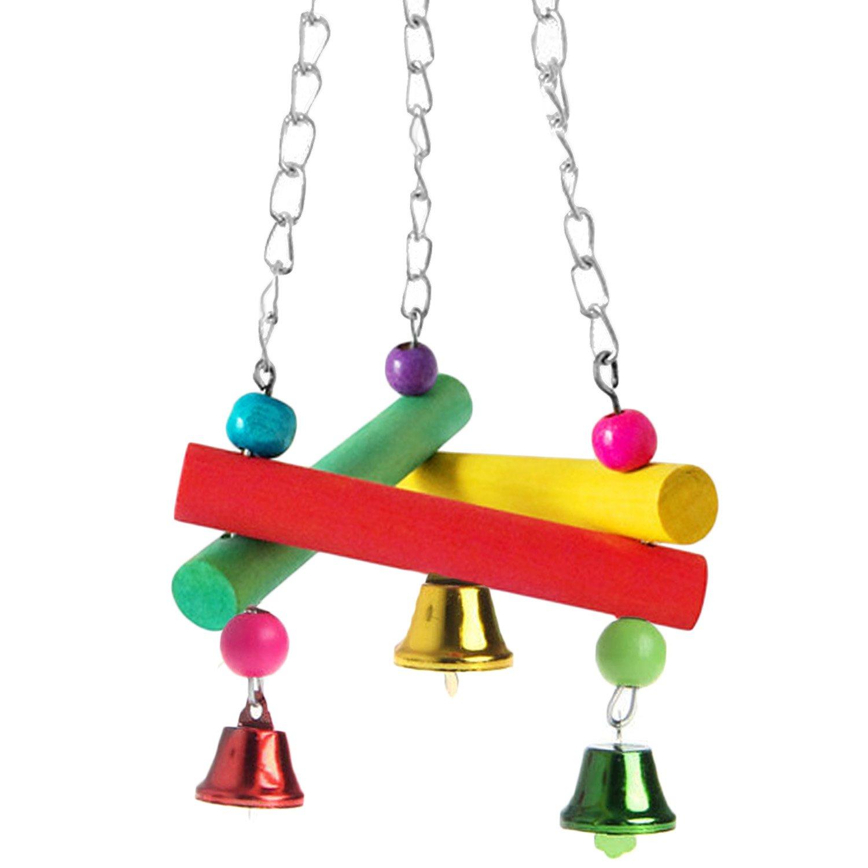 Elisona-Pet Swings,Colorful Triangular Cute Cage Bird Hammock Swing Toy,Bird Toys Parrot for Pet Bird Parrot