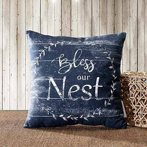 - TINA'S HOME Rustic Vintage Farmhouse Cotton Decorative Throw Pillow Cover - Bless Our NEST (18x18, Navy Blue)