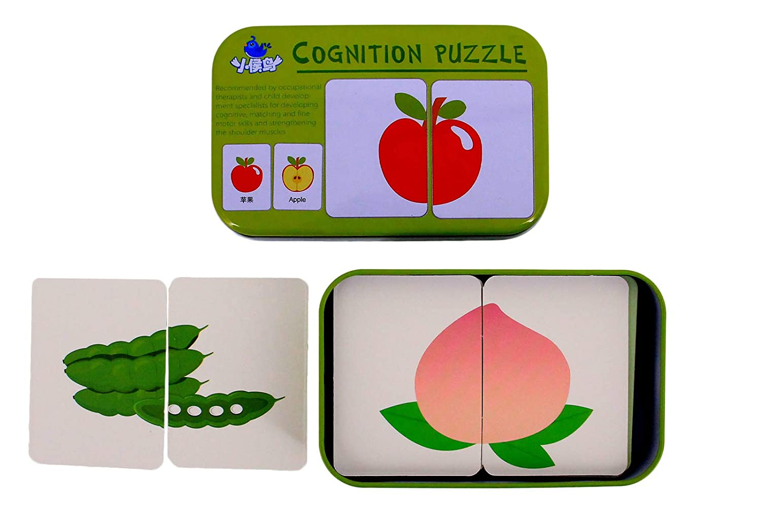 Multifit 32 Pieces Learning Alphabet Fruit Puzzle Flash Cards Jigsaw Shape Matching Cognitive Early Educational Toys