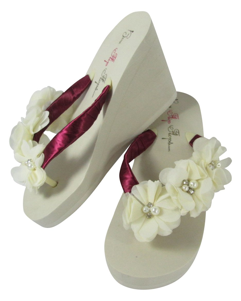 3829566d8bfd9c Amazon.com  Ivory 3 inch Wedge Sweetheart Bridal Flip Flops ...