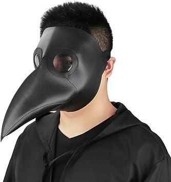 CUSFULL Máscara de Pico Falsa Piel Plaga Doctor Máscara Disfraz de Halloween Cosplay Steampunk Costume para Adulto Negro-uno tamaño