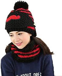 4f96ea627bf Carin Women s Cute Winter Hat Knitting Wool Ear Protection Beanie With  Beard Mask