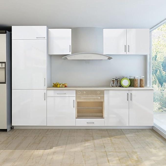 Mueble de cocina para nevera empotrable (7 unidades, 270 cm), color blanco brillante: Amazon.es: Hogar