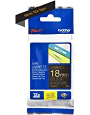 Brother Tape, Gold on Black, 18mm (TZe344) - Retail Packaging
