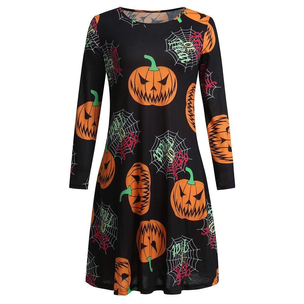 Clearance Deals! Womens Casual Fit and Long Sleeve Pumpkins Print A-Line Swing Dress,Hot Sale!(Black,XXL)