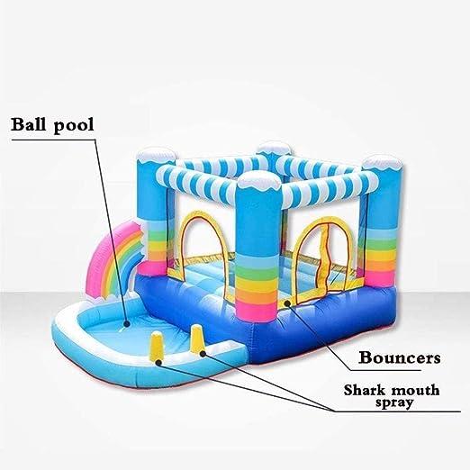 YF-SURINA Piscinas infantiles para niños Casas hinchables inflables para niños Castillo y tobogán con ventilador de 350 vatios Piscina de agua con pozo de bolas pequeñas Casa de puente inflable con: Amazon.es: