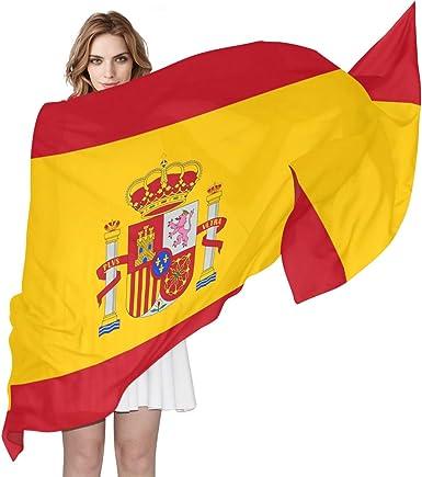 Bufanda de gasa sedosa para mujer con bandera de España para mujer, 70 cm de largo x 89 cm de ancho: Amazon.es: Ropa y accesorios