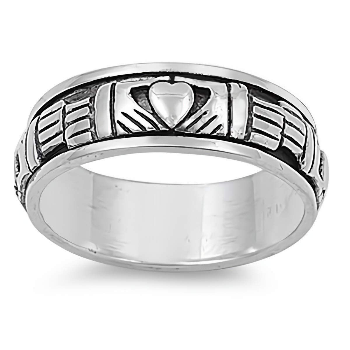 Glitzs Jewels 925 Sterling Silver Ring Cute Jewelry Gift for Women in Gift Box Spinner Claddagh