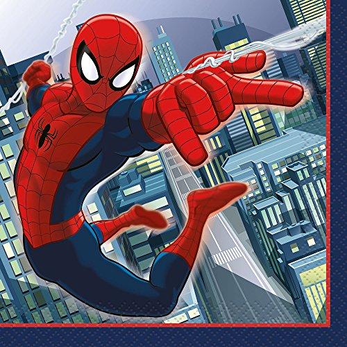 Unique Spiderman Beverage Napkins, 16-Count