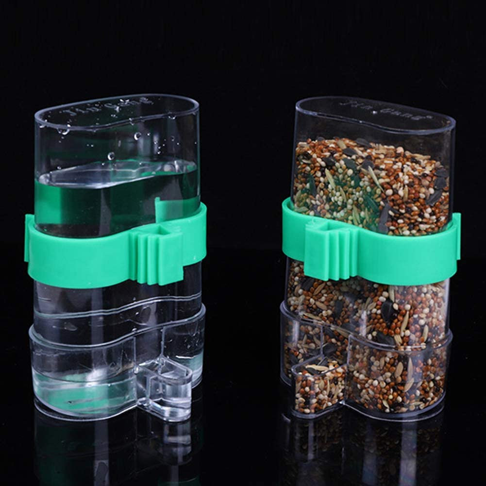 Seneme [2 Pack] Automatic Bird Water Dispenser for Cage, Birds Clear Dispenser Food Feeder, Bird Food Feeder for Cage with 1 Pcs Plastic Fruit Vegetable Feeder